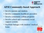 afsi community based approach