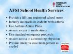 afsi school health services