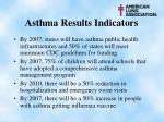 asthma results indicators