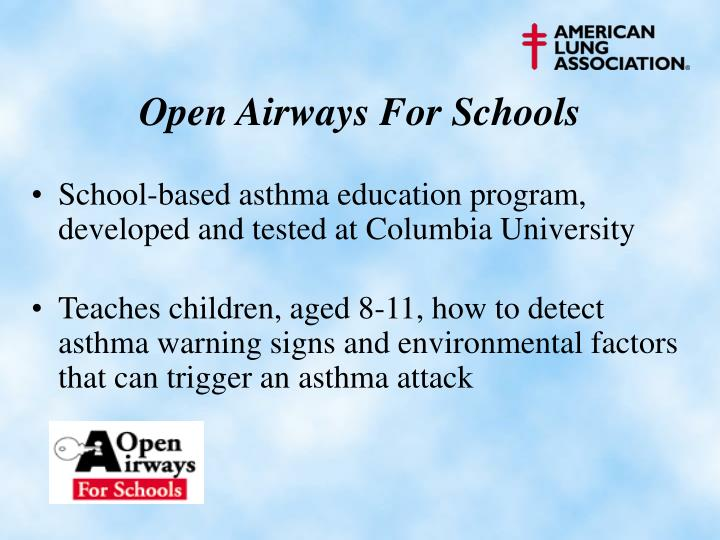 School-based asthma education program, developed and tested at Columbia University