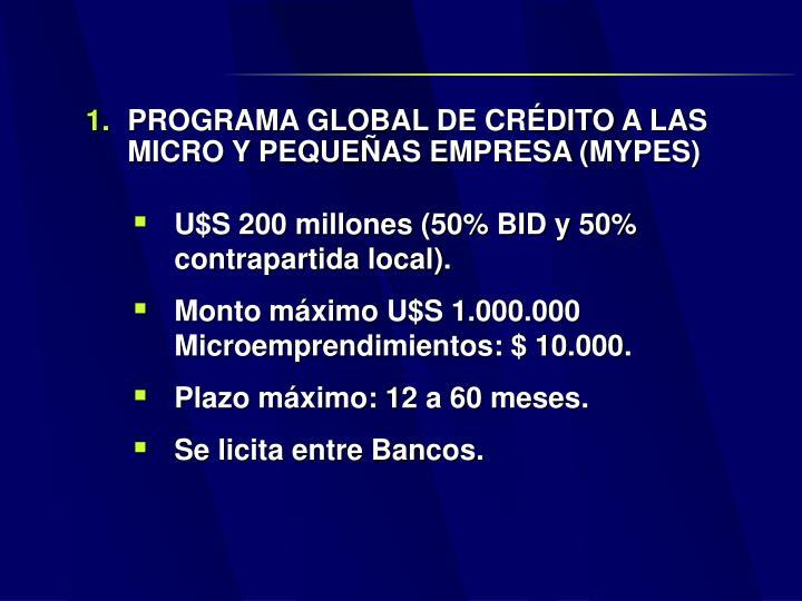 PROGRAMA GLOBAL DE CRÉDITO A LAS MICRO Y PEQUEÑAS EMPRESA (