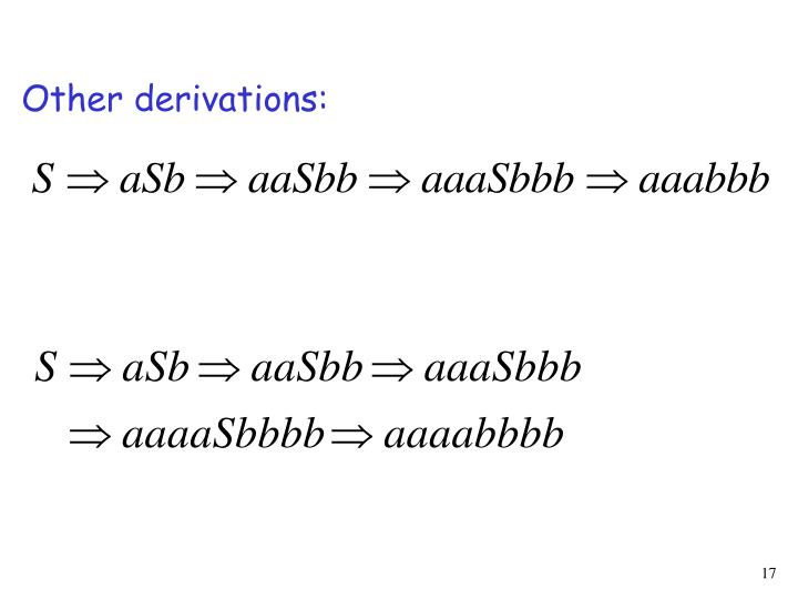 Other derivations: