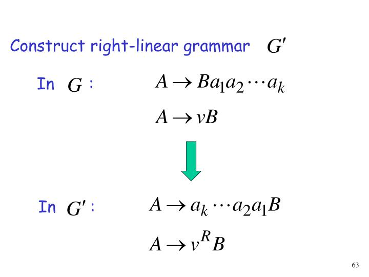 Construct right-linear grammar