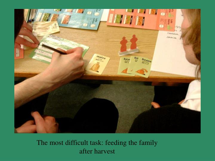 The most difficult task: feeding the family