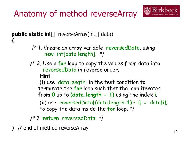 Anatomy of method reverseArray
