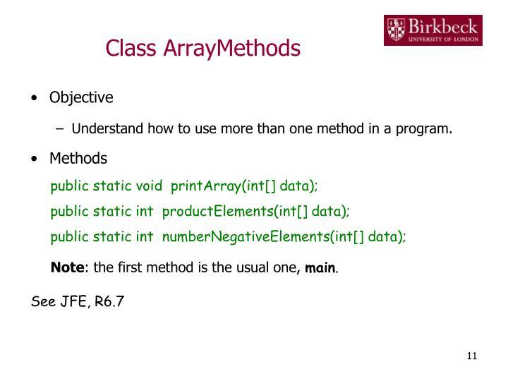 Class ArrayMethods