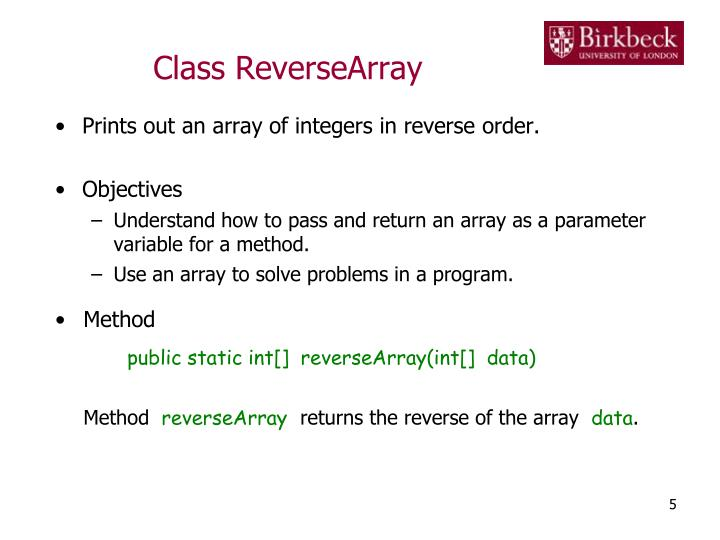 Class ReverseArray