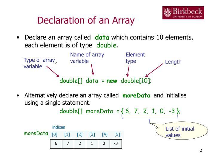 Declaration of an Array