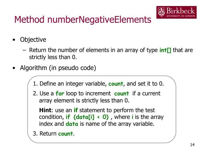 Method numberNegativeElements