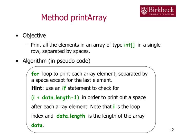 Method printArray