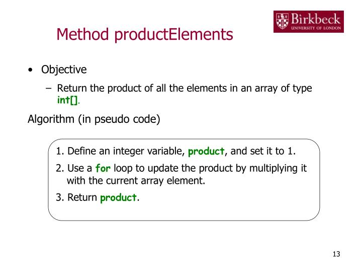 Method productElements