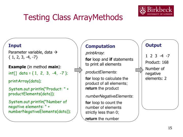 Testing Class ArrayMethods