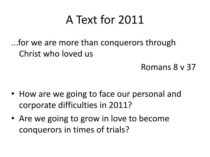 A Text for 2011
