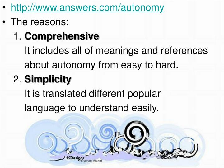http://www.answers.com/autonomy