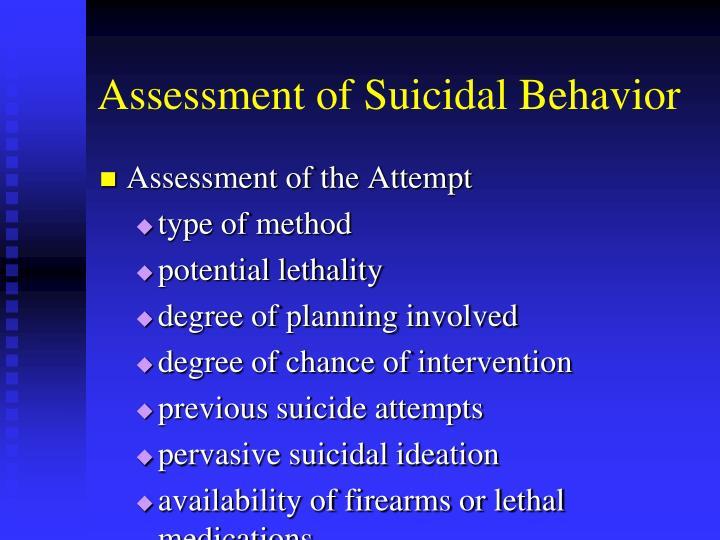 Assessment of Suicidal Behavior