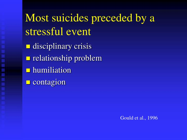 Most suicides preceded by a stressful event