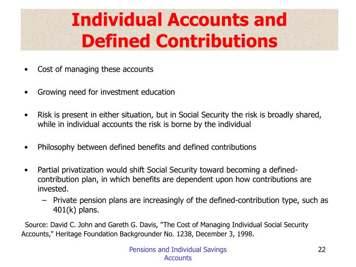 Individual Accounts and