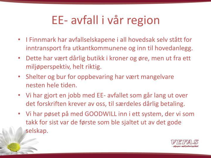 EE- avfall i vår region