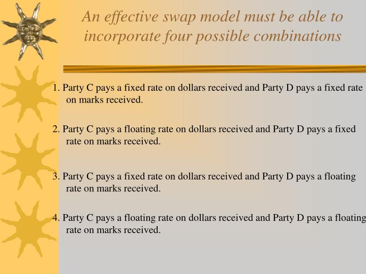 An effective swap model must be able to incorporate four possible combinations