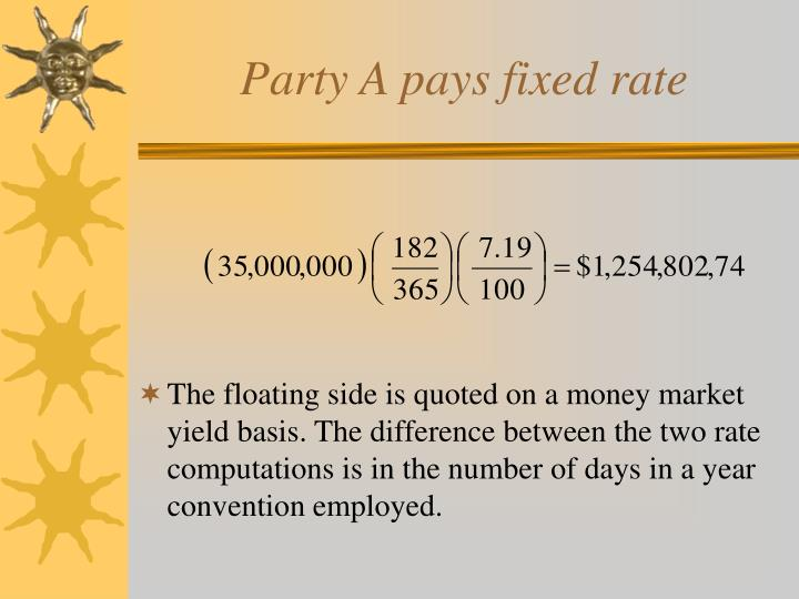 Party A pays fixed rate