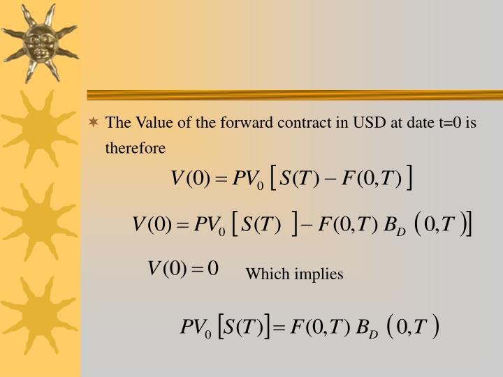 The Value of the forward contract in USD at date t=0 is therefore