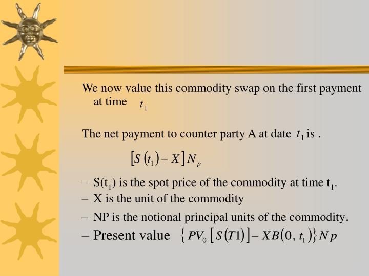 We now value this commodity swap on the first payment at time