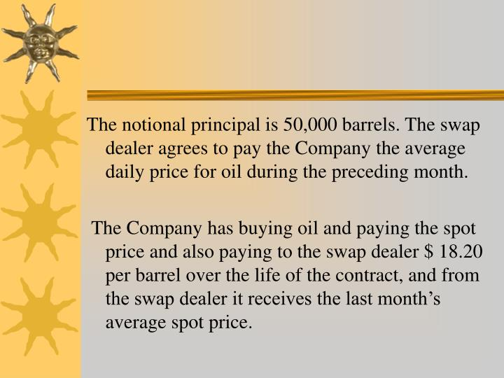The notional principal is 50,000 barrels. The swap dealer agrees to pay the Company the average daily price for oil during the preceding month.