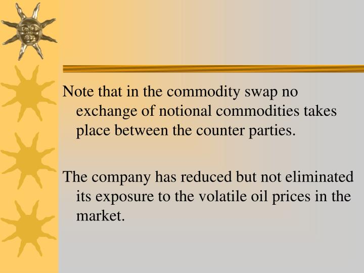 Note that in the commodity swap no exchange of notional commodities takes place between the counter parties.