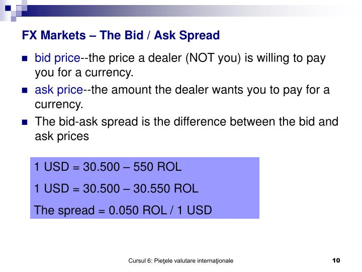 FX Markets – The Bid / Ask Spread