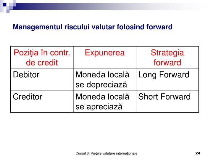 Managementul riscului valutar folosind forward