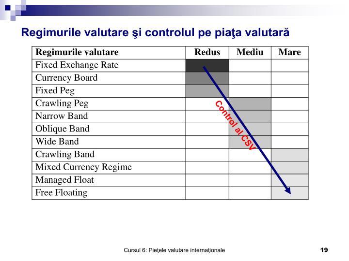 Regimurile valutare şi controlul pe piaţa valutară
