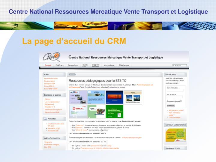 La page d'accueil du CRM