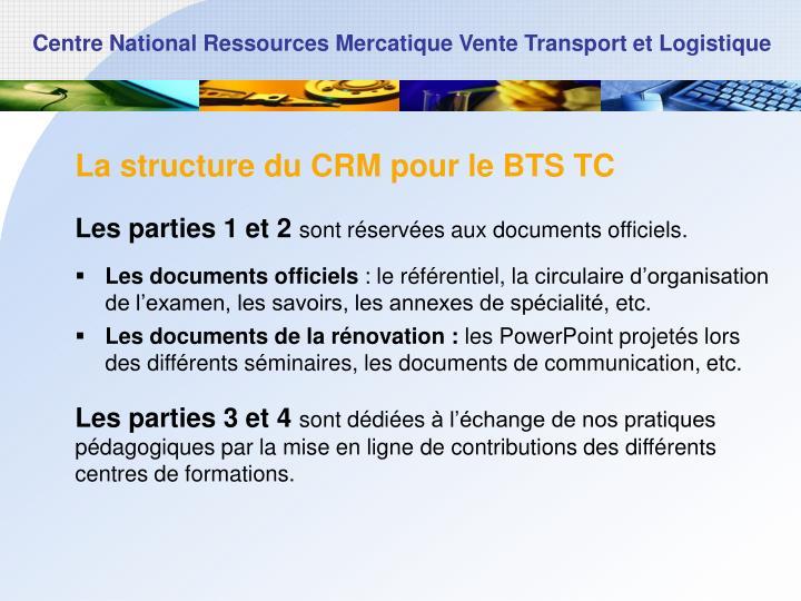 La structure du CRM pour le BTS TC