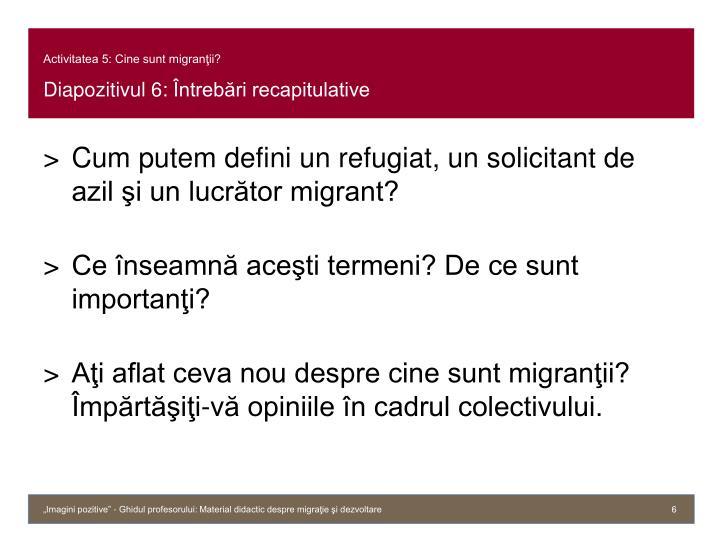 Activitatea 5: Cine sunt migranţii?