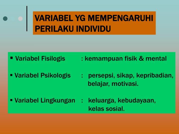 VARIABEL YG MEMPENGARUHI