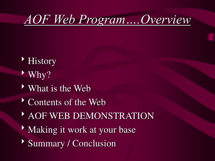 AOF Web Program….Overview