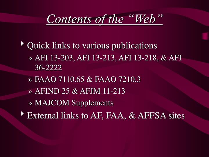 "Contents of the ""Web"""