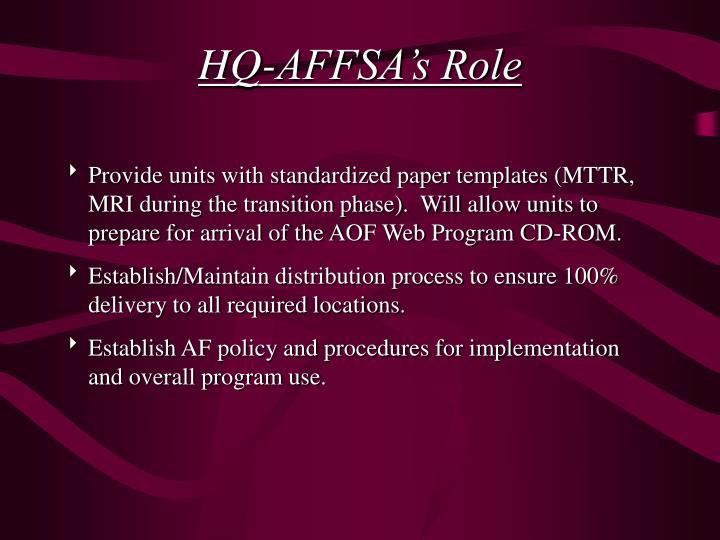HQ-AFFSA's Role