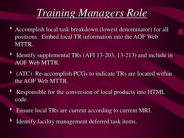 Training Managers Role
