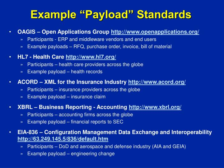 "Example ""Payload"" Standards"