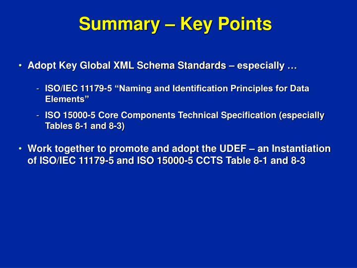 Summary – Key Points