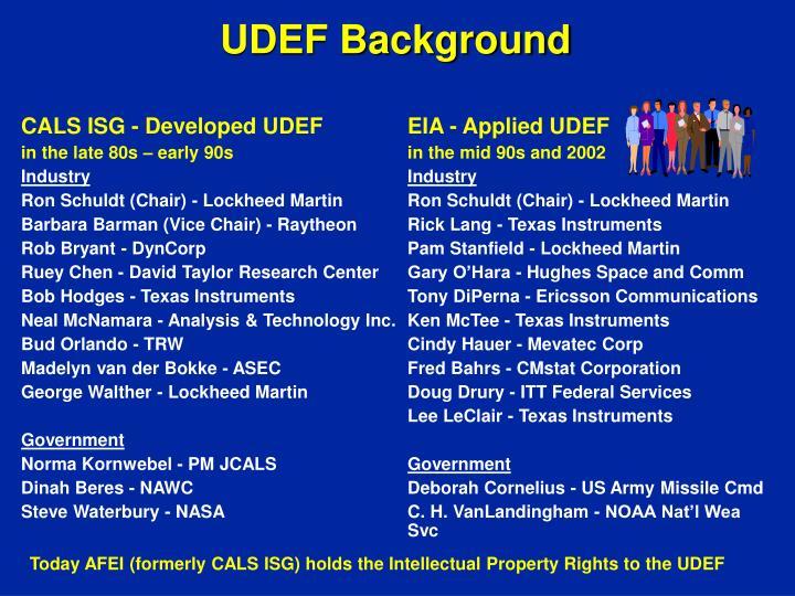 UDEF Background