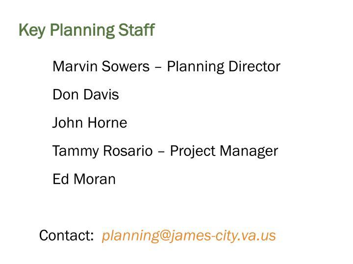 Key Planning Staff
