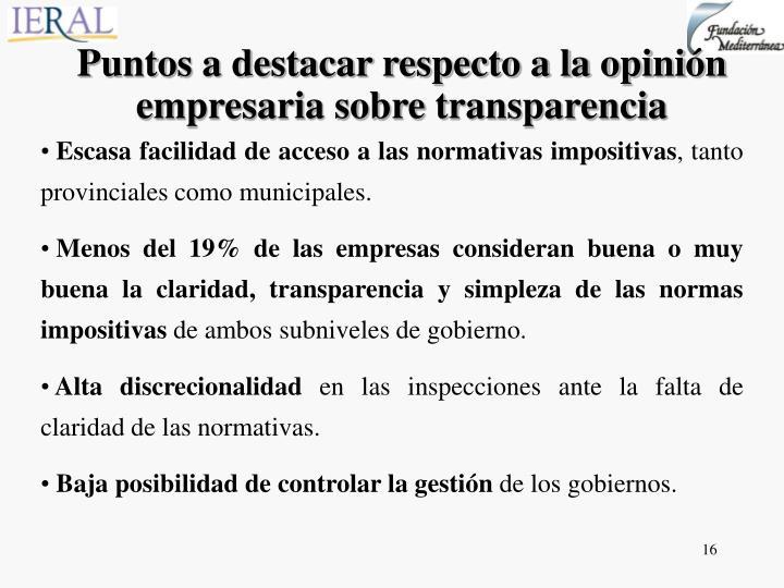Puntos a destacar respecto a la opinión empresaria sobre transparencia