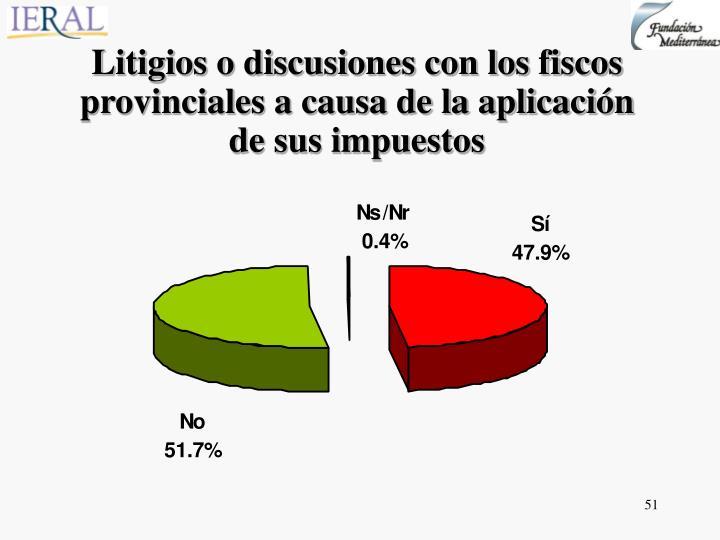 Litigios o discusiones con los fiscos provinciales a causa de la aplicación de sus impuestos