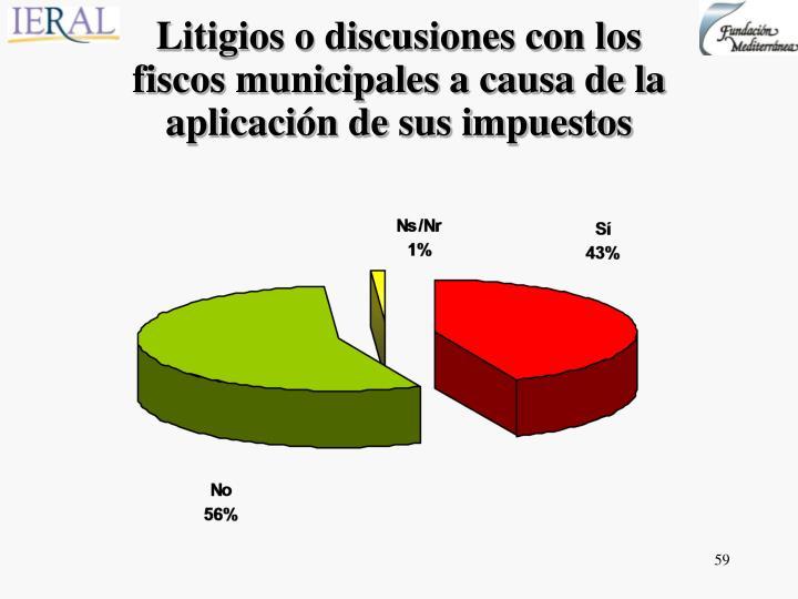 Litigios o discusiones con los fiscos municipales a causa de la aplicación de sus impuestos