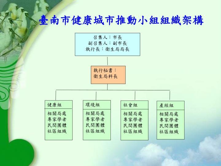 臺南市健康城市推動小組組織架構