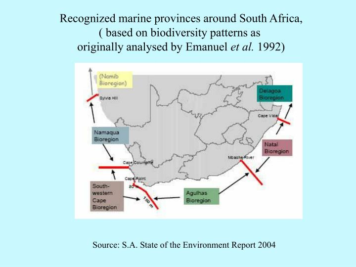 Recognized marine provinces around South Africa,