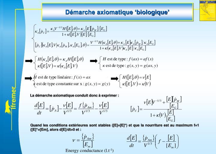 Démarche axiomatique 'biologique'