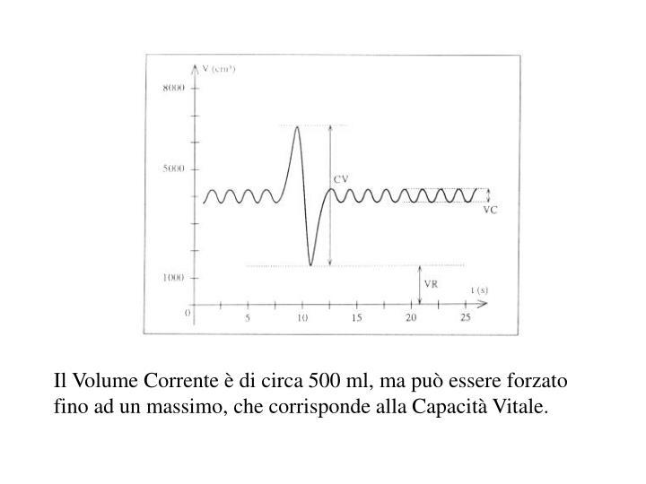 Il Volume Corrente è di circa 500 ml, ma può essere forzato